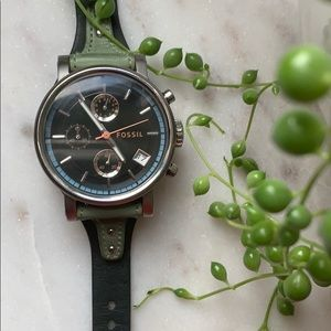Fossil Green Leather Strap Watch